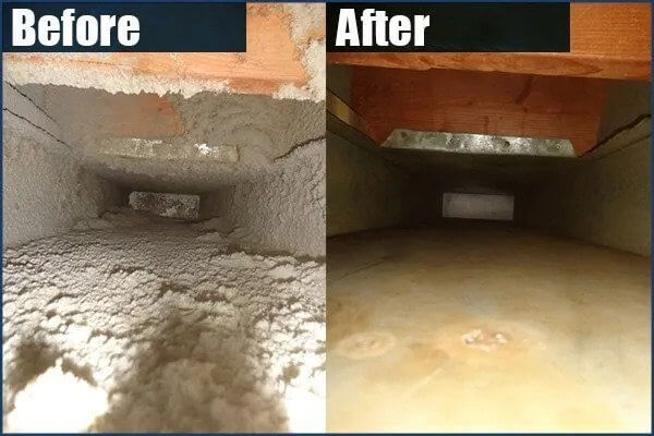Before and after photos of air duct cleaning